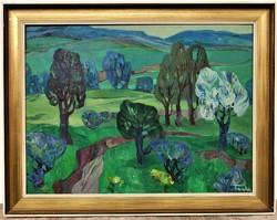 Farkas Lídia (1910 - 1985) Dombos táj c. olajfestmény 92x72cm EREDETI GARANCIÁVAL !
