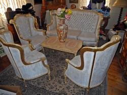 6 darabos nagyméretű  aranyozott bútor márványasztallal
