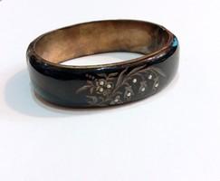 Antik ezüst, zománc, gyöngy dístzítésű karperec, karkötő