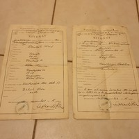 Jánoshalma az izraelita kerületi anyakönyvi hivatal bizonyítványa 1941 2db