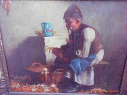 Horváth g. Andor (1876-1966) Corn looting in the 1920s. Original.Lotz Charles pupil