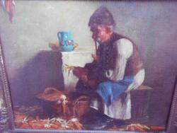 Horváth G. Andor(1876-1966) Kukorica kobzó 1920-as évek.Eredeti.Lotz Károly tanítvány