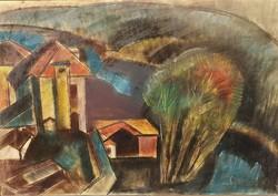 Szabó Zoltán Angyalföldi (1929 - 2014) Tirnovo 1972 c. festménye 110x80cm EREDETI GARANCIÁVAL !!!