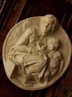 """Papp Aurél, 1879-1960, """"kis Nagybányai"""" festőművész, és szobrász, Anya gyermekeivel gipsz dombormű"""