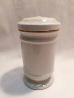Zsolnay porcelán patika fedeles tároló tégely eredeti kosszal