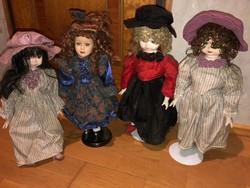 4 db nagyméretű régi Porcelán fejű Baba állványon (Németországban vásároltak)