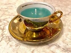 Porcelán illatgyertya - aranyozott porcelán Kávés csésze zöld illatgyertya