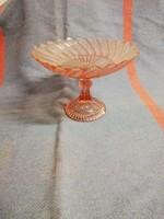 Rózsaszín antik üveg gyümölcs kínáló