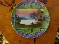 Antik körmöcbányai torta tál, talpas torta tartó, tájképmintásak, leírás szerint