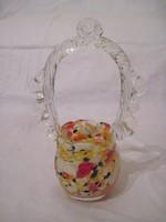 Muránói üveg kosár díszüveg kínáló asztalközép 17,5cm