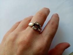 B24 - Fémjelzett 925 ezüst gyűrű gyöngyház berakással