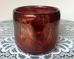 Egyedi fújt irizált spínolt üveg tálka - 10 cm - üvegtál