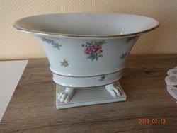 Herendi virágmintás, nagy méretű körmös kaspó (váza), asztalközép