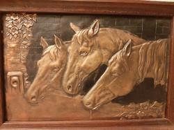 Réz dombormű lovas kép