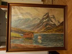 Kaj Brandstrup: Csónakház a hegyek tövében, monumentális olajfestmény