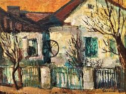 Csernó Judit (1925 - 2000) Kerekeskút c. olajfestmény 90x70cm EREDETI GARANCIÁVAL !