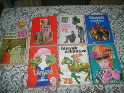 Lányok évkönyve - hét darab - 1969, 1971, 1972, 1973, 1974, 1975, 1976