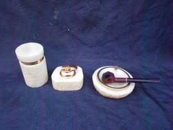 Alabástrom dohányzó szett, hamutartó, cigaretta, dohánytartó, működő öngyújtó. Bruyére pipával