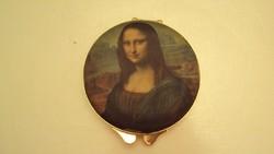 Vadonatúj (francia)selyem festményes /Mona Lisa/ portrés pudrié /púderes doboz/tükörrel,arany fényű.