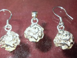 Rózsa Virág 925 ezüst - arany Medál és Fülbevaló kézműves Ékszer Szett