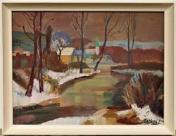 Farkas Lajos (1919 - 1998) Téli falu c. Képcsarnokos festménye 86x66cm EREDETI GARANCIÁVAL