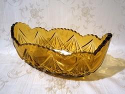 Nagyon szép, régi vastag falú borostyán színű metszett üveg nagy kínáló tál, asztalközép