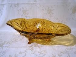 Nagyon szép régi vastag falú borostyán színű metszett üveg nagy lábakon álló kínáló tál, asztalközép