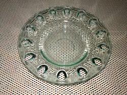 Antik, világoszöld üveg tányér, vastag üvegtányér, zöld tányér