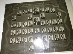 Eredeti 1956-os iskolai tablókép, közgazdasági technikum ipari tagozat fotó, fénykép