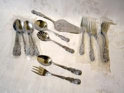 Rózsafogós evőeszköz készlet: tortalapát 6 süteményes villa 6 teás-fagyis kanál 2 adagoló kiskanál