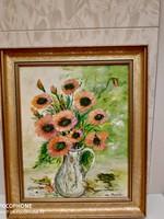 Virág csendélet Olaj-Farost szép állapotban eladó!