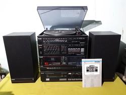 Régi retró Philips FCD 563 hifitorony álvánnyal cd aux lemezjátszó dupla kazettás magnó rádió