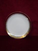 H & C csehszlovák porcelán antik lapostányér bordó/arany szegéllyel.