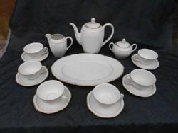 6 személyes, Bavaria porcelán teáskészlet. Hófehér, arany szegéllyel. Hibátlan, hiánytalan, elegáns