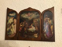 Csodálatos Jézus születése 3 db porcelán kép falra akaszható fa kinyitható oltárban.