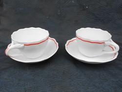 2 db Zsolnay teás csésze 1930-as évek.Fodrozódó peremmel. Különleges fül kidolgozással.Hibátlan