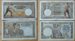 500 dinár 1941-42 2 fajta Jugoszlávia hajtatlan de használt