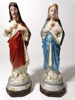 Jézus Szíve és Mária Szíve szobor párban