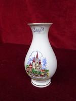 Osztrák porcelán váza, Mariazell felirattal és látképpel, 13 cm magas.