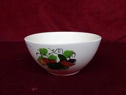 Német porcelán tálka, zöldség mintával, átmérője 15,5, magassága 8 cm.