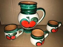 Kerámia tea kiöntő + 3 db csésze régi retro almás népi kerámia