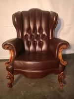 Antik chesterfield barokk  füles bőr fotel