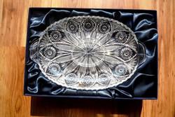 Nagy ólomkristály kínáló tál asztalközép Takács kristály díszdobozban kínálótál
