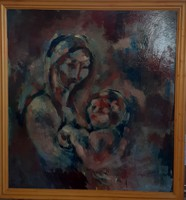 Anya gyermekével kortárs festmény