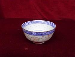 Kínai porcelán rizses tálka. 11 cm az átmérője, 6 cm magas.