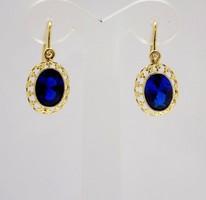 Kék köves arany fülbevaló (ZAL-Au87071)