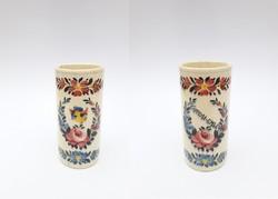 Körmöcbányai antik fajansz váza, pohár - Kassai emlék felirattal - Kremnica Körmöcbánya Kosice