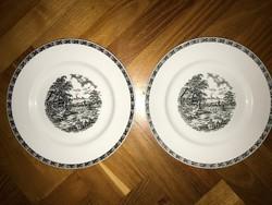 Angol porcelán tál tányér 2 db fekete mintás