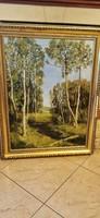 Ábrahám Rafael erdei patak című olaj festmény