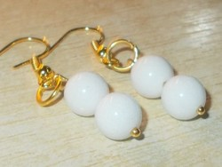 Természetes Fehér Jade ásvány Gyöngy kézműves Aranyozott Fülbevaló